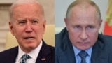 A combo photo of U.S. Presidnet Joe Biden and Russian Presiden Vladimir Putin