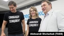Дмитрий Гудков, Ксения Собчак и Андрей Нечаев (слева направо) во время пресс-конференции, посвященной созданию новой партии