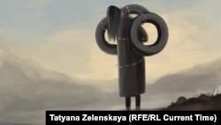 Видео, на котором мужчина избивал жену, повесив на нее автошины с кирпичами, вызвало бурю возмущения в Кыргызстане. Многие, рассказывая об этом случае, использовали иллюстрацию художницы Татьяны Зеленской – этот рисунок она создала, чтобы привлечь внимание общества к случившемуся