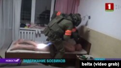 Belarus 1 broadcast footage from the July 29 detention of 32 Russian citizens, described as mercenaries for the Vagner Group, at a sanatorium outside of Minsk.