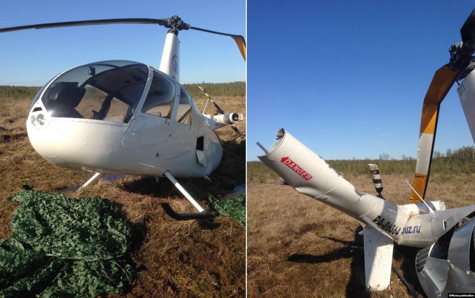 Фото вертолета Robinson R-44 бортовой номер RA-06364 после крушения. Фото: отчет МАК