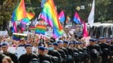 UKRAINE -- Law enforcement officers guard the Kharkiv Pride march organised in support of the LGBT community in Kharkiv, September 12, 2021