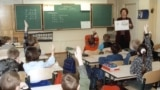 Latvia -- Pupils of the 2nd grade in the secondary school N 5 of Riga having classes of maths both in Russian and Latvian.