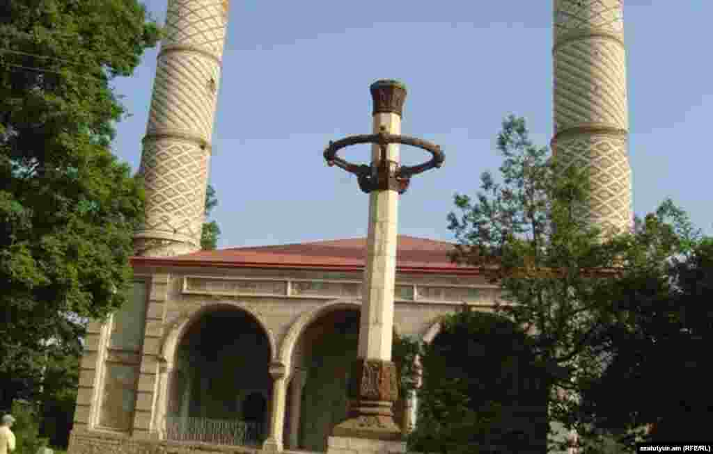 The 19th-century Yukhari Govhar Agha Mosque in the Karabakhi town of Shushi, known to Azerbaijanis as Shusha. The Shi'i mosque, seen here in 2011, was abandoned after ethnic Armenian forces took control of the hilltop town in 1992. It has been undergoing restoration with assistance from Iran -- a project that Baku rejects as illegitimate.  The building has not been reported damaged during the most recent fighting over Karabakh.