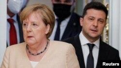 Ангела Меркель и Владимир Зеленский, Украина, Киев, 22 августа 2021 года