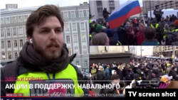 TV Rain correspondent Aleksei Korostelyov, shown covering Moscow's April 21 rally in support of jailed opposition politician Aleksei Navalny, is among several Russian reporters detained for supposedly participating in the unauthorized protest.