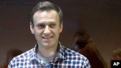 Aleksei Navalny seen in February 2021 during an appeal of his prison sentence in Moscow.