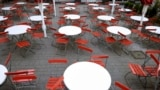 GERMANY -- Empty chairs and tables cafe Cologne, Germany, coronavirus COVID-19