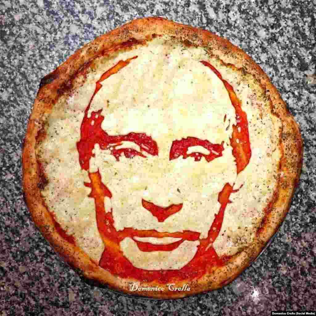 Британский шеф-повар из Глазго делает пиццы с изображением известных личностей, в том числе и с Владимиром Путиным