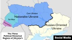 Социологическое разделение Украины на регионы, ориентированные на Россию, и нет