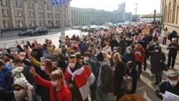 Supporters of a nationwide strike in Belarus march in Minsk on October 26, 2020.