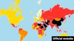 """Карта свободы прессы организации """"Репортеры без границ"""""""