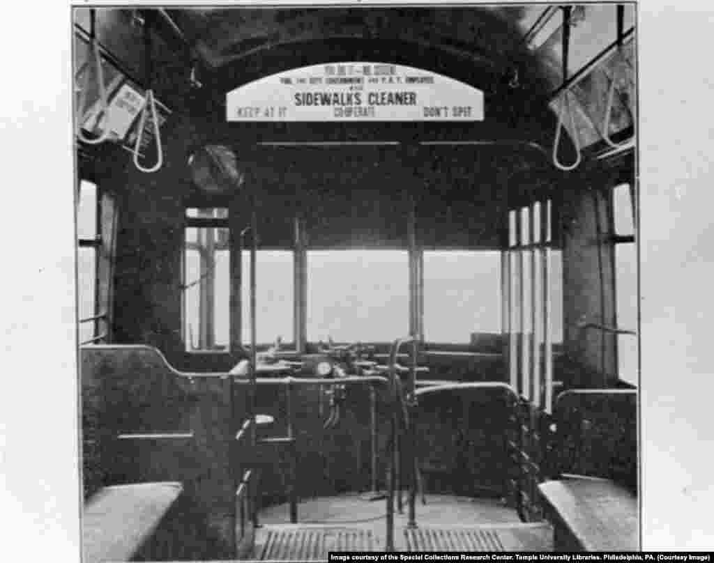 В общественном транспорте Филадельфии тоже рекомендовали не плевать на пол. Это фотография 1918 года