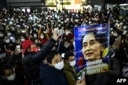 Протест против военного переворота в Мьянме. Токио, 6 февраля
