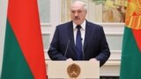 Belarusian President Alyaksandr Lukashenka speaks during a ceremony in Minsk, October 30, 2020
