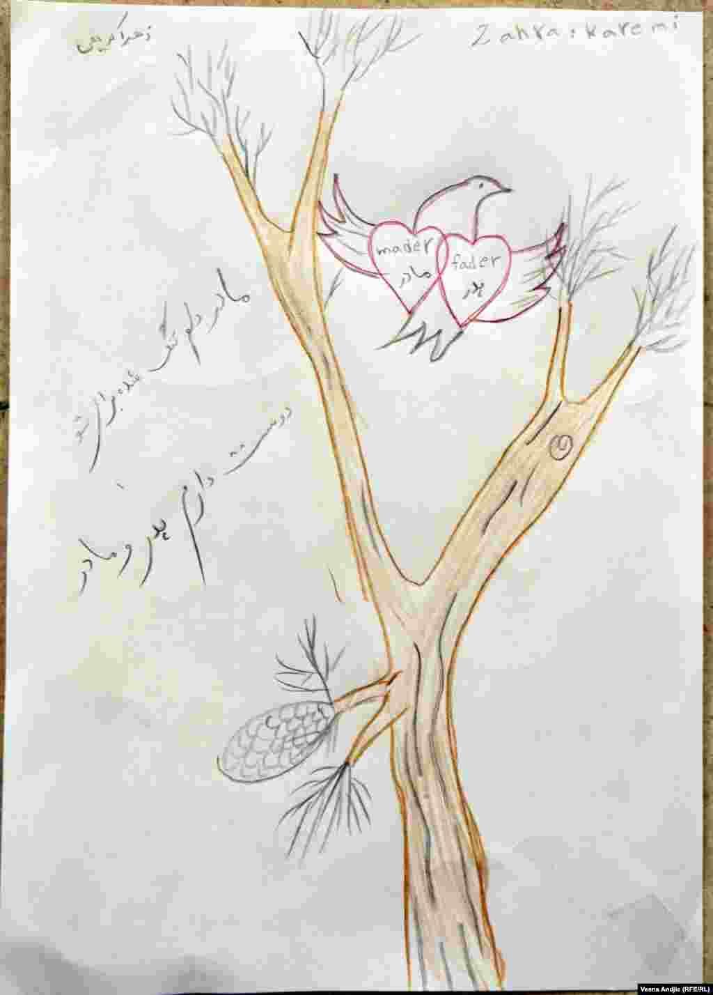 Многие рисунки позитивны и полны надежды, как например, этот рисунок8-летней Захры из Ирака