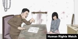 Сцена типичного допроса женщины в тюрьме в КНДР