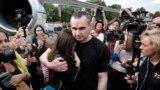Ukrainian fillmmaker Oleh Sentsov, released from prison in Russia, upon arrival at Kyiv's Borisopol airport
