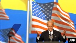 US Vice President Joe Biden addresses an audience in Kyiv, Ukraine on July 22, 2009.