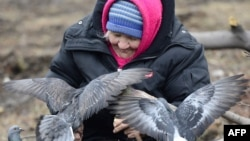 Дебальцево. Пенсионерка кормит голубей на площади имени Ленина