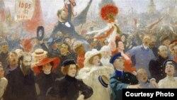 Русская революция 1905 года, пропагандирующая уличные столкновения с правительственными войсками