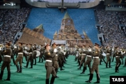 On parade at the closing of the 1980 Moscow Summer Olympics