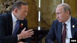 Беседа премьер-министра Австралии Тони Эббота и президента России Владимира Путина на встрече АСТЭС в Пекине, 11 ноября 2014 года