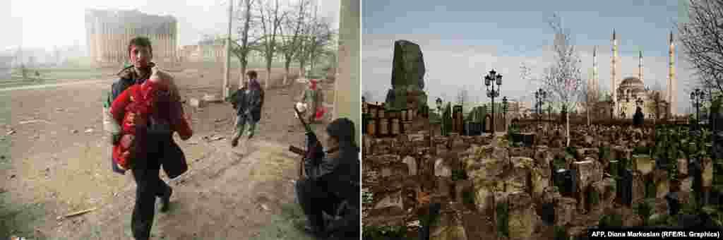 Январь 1995 года. Чеченский боец следит за тем, как гражданские лица пересекают площадь рядом с президентским дворцом, руины здания на заднем плане. Сегодня на месте дворца стоит огромная мечеть. Через дорогу от мечети – сквер с памятником погибшим прокремлевским чеченским бойцам, которые были убиты в столкновениях с боевиками-исламистами. Монумент установлен среди старых могильных плит, это память о чеченцах, уничтоженных в годы Сталинского террора.