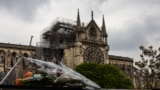 Notre Dame de Paris Cathedrale in central Paris, after a fire engulfed the 850-year-old gothic masterpiece, destroying the roof and causing the steeple to collapse.