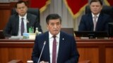 Kyrgyzstan - President Sooronbai Jeenbekov in parliament. April 11, 2019