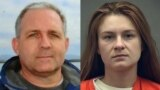 A combo photo shows Paul Whelan (left) and Maria Butina