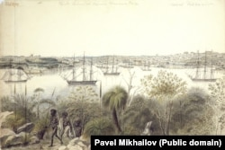 Набросок бухты в Сиднее. Там экспедиторы восполняли свои запасы продовольствия и ремонтировали корабли