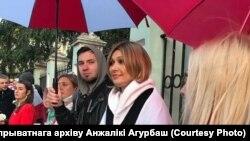 Анжелика Агурбаш во время акции в Москве