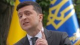 UKRAINE -- Ukrainian President Zelenskiy gives a press conference marking first year in office, in Kyiv, May 20, 2020