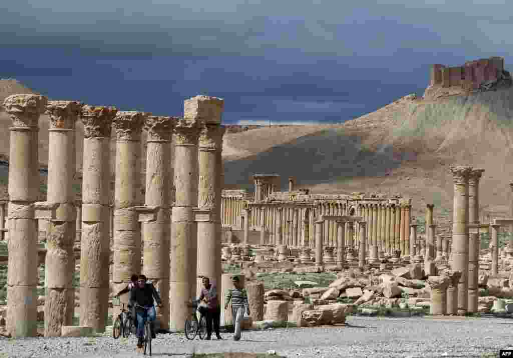 Еще год назад Пальмира была спокойным городом. На этой фотографии, датированной мартом 2014 года, местные жители ездят на велосипедах вдоль древних развалин