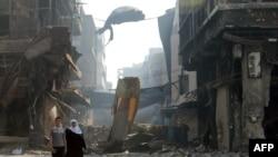 Разбомбленный город Хомс в мае 2014 года