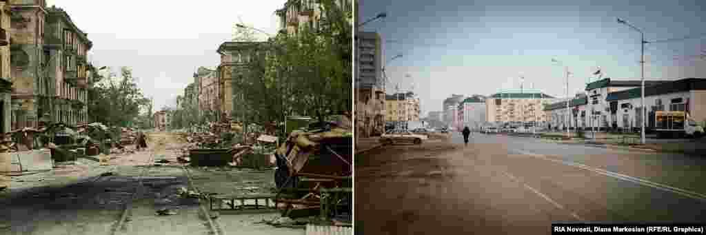 Проспект Мира в центре Грозного выходит на центральный рынок. Здесь почти не видно следов разрушений 1996 года.