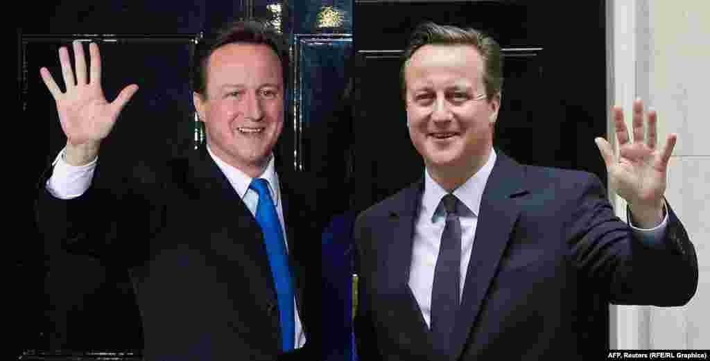 Премьер министр Великобритании Дэвид Кэмерон в 2010 (слева) и в 2015 году