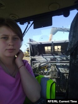 "Work as a tractor driver-mechanic ""comes easy"" for Aleksandra Besparova. Photo: Aleksandra Besparova archive"