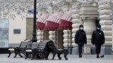 RUSSIA -- Russian police officers patrol the city center in Moscow, March 30, 2020