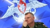 RUSSIA -- Chief of the directorate of media service and information of the Russian Defence Ministry, Major-General Igor Konashenkov speaks during a news conference on the crash of the Malaysia Airlines Boeing 777 plane operating flight MH17 downed in east
