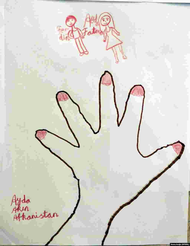 Однако большинство рисунков, которые она увидела сейчас, не несут негативных эмоций Рисунок 8-летней Айды из Афганистана
