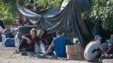 Палаточный городок для ожидающих отбытия граждан Узбекистана в Ростове-на-Дону