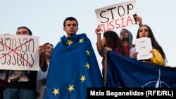 Протесты против действий России в Южной Осетии в Хурвалети (Грузия)