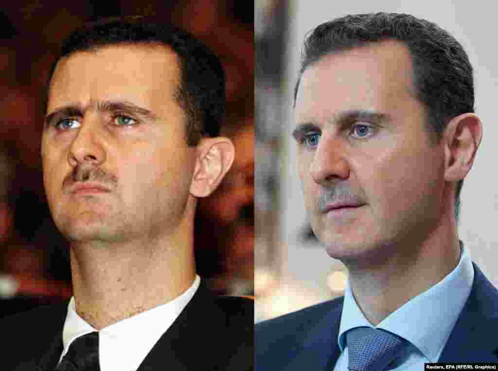 Президент Сирии Башар Асад в 2000 (слева) и в 2015 году