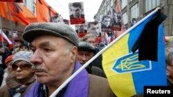 Участник траурного шествия в память о Немцове, Москва, 1 марта 2015