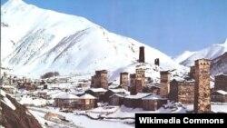 Поселок Ушгули в Сванетии, Грузия