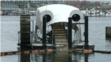 Mr Wheel automatic ship that collects garbage in Baltimore USA