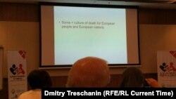 Слайд презентации во время одной из сессий Всемирного конгресса семей: Сорос = культура смерти для людей в Европе и европейских наций
