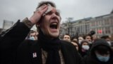 Protests in support of Alexey Navalny in Moscow. Police, protests, Russia